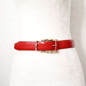 Vintage Red Leather Statement Weatern Belt S/M